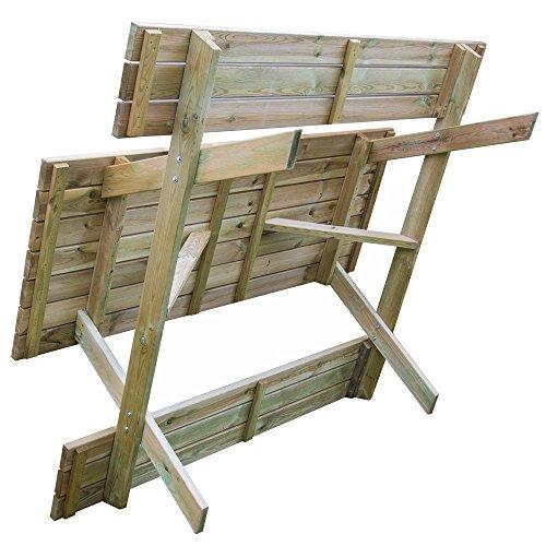 Tavolo picnic 180x120xH70 legno robusto + panche seduta arredo giardino BD-46068 - 4