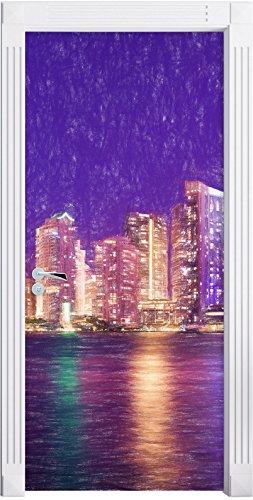 Schöne Nacht-Szene Skyline von Miami Florida Kunst Buntstift Effekt als Türtapete, Format:...