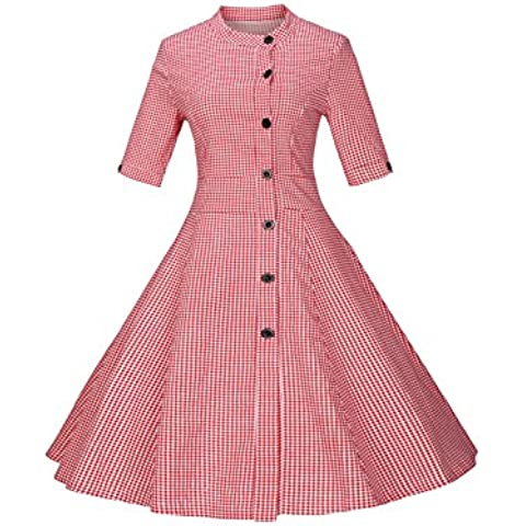 Media manga rayas Vintage de la mujer Swing vestido con botón