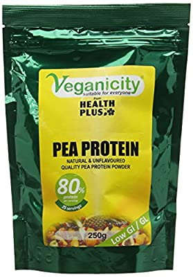 Veganicity Pea Protein Powder : Natural and Unflavoured 80% Protein : 250g from Health + Plus Ltd