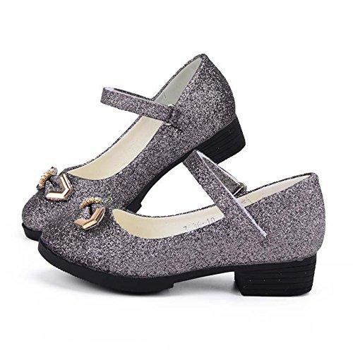 Tufanyu Mädchen Prinzessin Schuhe Chunky Ferse Glitter Shiny Strass BowKnot Party Kleid Sandalen für Kleinkind & Kleinkinder Abschlussball ( Color : Dark Gray , Size : 27 EU ) (Sandalen Kleid Kleinkind)