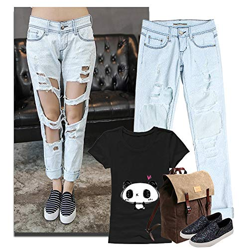 HOUYAZHAN Damen Destroyed Ripped Röhrenjeans Low Waist Jeans (Farbe : Blau, Size : XL) - Zerstört Low-rise-jeans