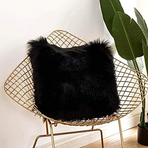 Yihaic fodera per cuscino,in lana artificiale fodera per cuscino, super soft fodera per cuscino in pelle deluxe home decor decorativo camera da letto federa divano 45 * 45 cm (nero)