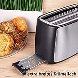TZS First Austria – gebürsteter Edelstahl 4 Scheiben Toaster 1500W mit Krümelschublade Sandwich Langschlitz | abnehmbarer Brötchenaufsatz | wärmeisoliertes Gehäuse, stufenlose Temperatureinstellung - 5