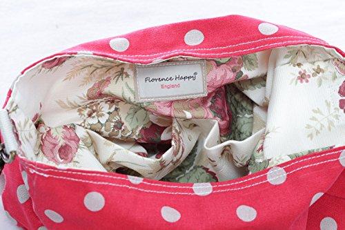 stampa in spot gufo tracolla bouquet a con floreale borsa Tela a Reversibile flower borsa red motivo tracolla 7UYgqg