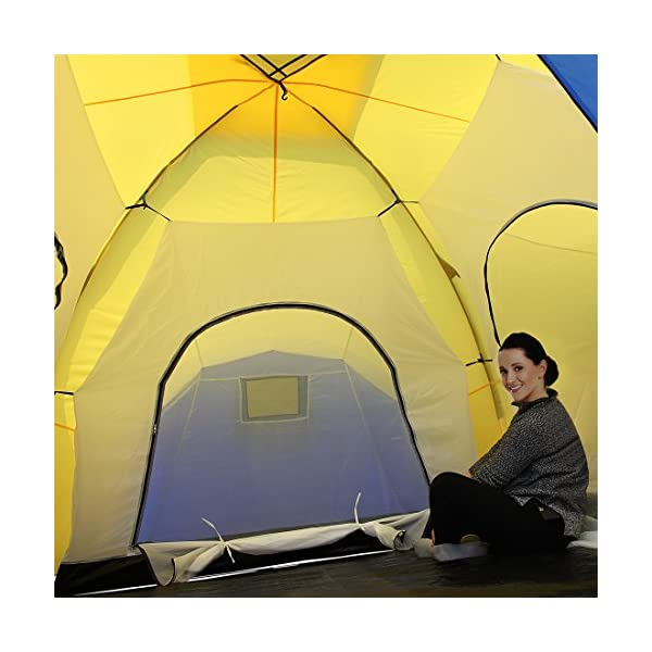 Peaktop 3 Bedrooms 1 Large Living Room 8 Persons Camping Tent Family Group Double Poles Hiking Beach Outdoor Tunnel Dome 3000mm Waterproof &UV Coated Bright Color 1 Year Warranty (5 Shapes) 8