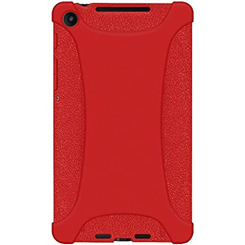Amzer Exclusive Silicone Skin Jelly Case Cover for Google Asus Nexus 7 2nd Gen 7.2 2013 - Red