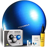POVUMGA Gymnastikball Fitnessball Sitzball 55cm 65cm 75cm Silber Blau Maximalbelastbarkeit bis 400kg inclusive Pumpe