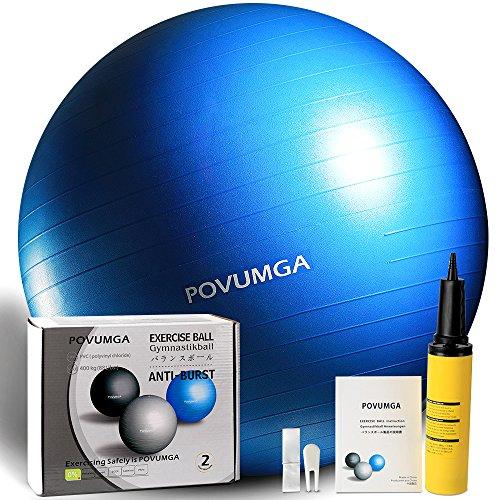 POVUMGA Gymnastikball Fitnessball Sitzball 75cm Maximalbelastbarkeit bis 400kg inclusive Pumpe