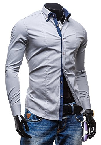 BOLF - Chemise casual – avec manches longues – NEW MEN 7187 – Homme Gris