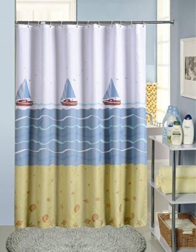 e Decor Nautisches Boot Print wasserdichten Vorhänge Dusche Badezimmer Vorhang dicker mildew-proof Stoff Bad Vorhang mit frei Haken, multi-clolor, Polyester, weiß, 120*80 (Seashell Dusche Vorhang Haken)