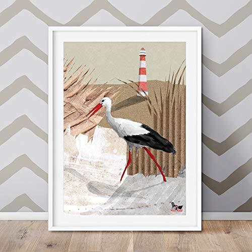 Will & Ruby Steffi Storch, Poster, A2, Kinderzimmer, Print, Deko, Wandgestaltung, Sommer, Urlaub, Tiere, Fun -