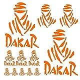 Autodomy Autocollants Dakar Pack de 15 unités pour la Voiture ou la Moto (Orange)
