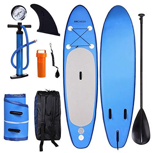 YUEBO 305cm Aufblasbares SUP Stand-up Paddel Board 15cm(6 Inch) Dick, iSUP Paddle Board mit Doppelhub-Pumpe + verstellbares Paddel aus 3 zerlegbaren Teilen + großer Rucksack + Knöchelband -