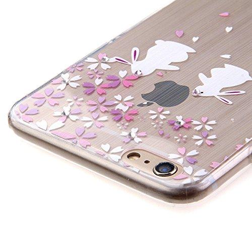 iPhone 6 4.7 Custodia, iPhone 6S Cover, iPhone 6 Case, Felfy Ultra Sottile Gel Custodia in Silicone e TPU Morbido Trasparente Chiaro Protettiva Skin Caso Case Cover per Apple iPhone 6 e 6S Belle Bian Fiori di ciliegio e Coniglio