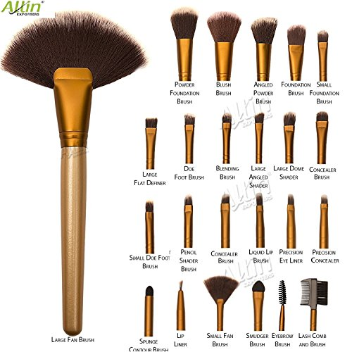 Allin Exporters Cosmetic Brush Set (24 Pieces) with Golden Leather Pouch for Eye Shadow Blush Concealer