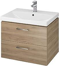 VBChome Badmöbel Waschbecken mit Unterschrank 2 Schubladen Nussbaum Lara 50, 60, 80