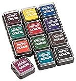 Stieber Mini-Stempelkissen mit Schnappdeckel, Gehäuse ca. 34x34x16,6 mm, Fasermaß ca. max. 24x24 mm *Bitte Farbe/Menge auswählen* (3 Stück UNGETRÄNKT)