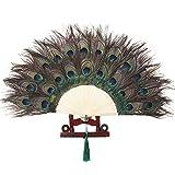 ArtiDeco 1920 Abanico de Plumas de Pavo Real Abanico de Mano Desplegable Flapper Abanico de Pluma Fiesta Vintage Disfraces Accesorios Decoración de Casa