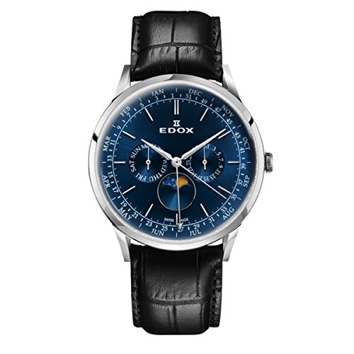 EDOX Men's Analogue Quartz Watch with Leather Strap 40101-3C-BUIN