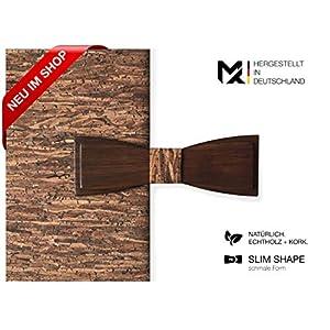 Hergestellt in Deutschland | MAY-TIE Herren Fliege | 100% Holz mit Kork | Style: Wood.D01 | Holzfliege gebunden und stufenlos verstellbar mit Hakenverschluss