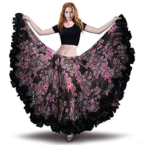 ROYAL SMEELA Bauchtanz Chiffon Rock der Frauen Voller Maxirock Tribal Style Flamenco-Röcke Böhmisches Bauchtanzkleid 360/720 Grad Klassische - Übergröße Latin Tänzer Kostüm