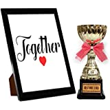 TiedRibbons® Karvachauth Gift Items Photo Frame With Golden Trophy   Karwa Gift For Wife   Karwachauth Special Gifts For Women   Karwachauth Special Gifts For Wife