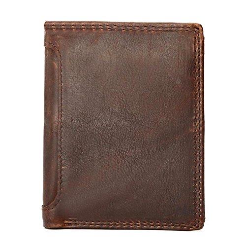 aa5544f72d28b Fablcrew 1 Stück Geldbörsen Portemonnaie Ultradünne Mini Brieftasche  Modische Herren Geldbörse Business-Brieftasche Hochwertiges Pferdeleder  Braun 12