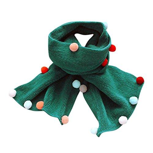 Fuibo Baby Schal, Winter Schal Mode Baby gestrickt Schal Junge Mädchen Halstuch Kopf Hals Kind (Grün)