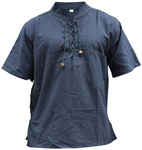 SHOPOHOLIC FASHION Herren Halb ärmlig Hippie Großvater Shirt Navy