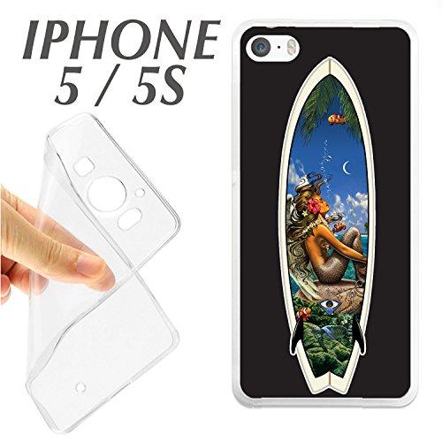 carcasaschulas CARCASA + Protector DE Cristal (OPCIONAL) iPhone 5 5S Tabla DE SURF Hawai Chica Bonita J163 - CARCASA+Protector