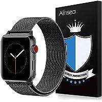 Alinsea Apple Watch 42mm/44mm Bracelet, Apple Watch 42mm/44mm Acier Inoxydable Bracelet [Forte Adsorption] [Ajustement Flexible] [Bonne Perméabilité à L'air] pour iWatch 42mm /44mm Series1/2/3/4, Hermès/Nike+ Edition