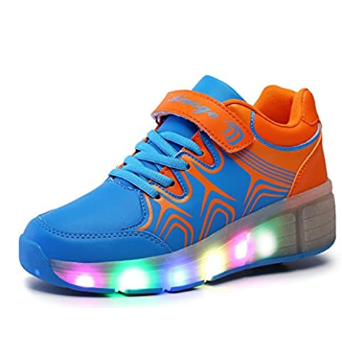 SGoodshoes LED Zapatillas Deporte Patín Ruedas Luminoso Formadores Flying Niños LED con un adulto Rueda Intermitente