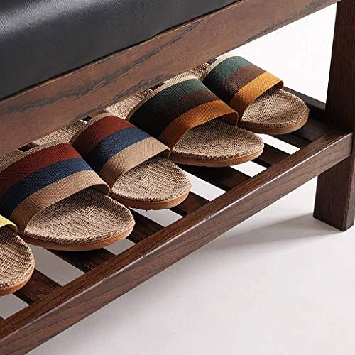 Mingcong Handgefertigtes Massivholz Schuhregal 2 Schicht Schuhschrank Hölzerne Leder-Ablage Regal Wohnzimmer Schlafzimmer Korridor Speicher Regal 50 * 34 * 42Cm,Brown (Brown-leder-bücherregal)