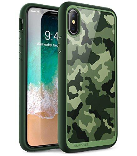 SupCase Hülle Kompatible für iPhone X/iPhone XS Handyhülle Tarnung Schutzhülle Camouflage Case Tarnmuster Transparent Cover [Unicorn Beetle Style], Grün -