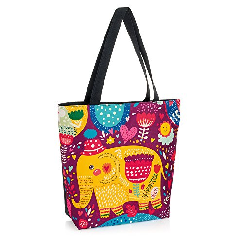 Allaccessories, Borsa a spalla donna Pink Union Jack flag Yellow and purple elephant 42cm x 37cm