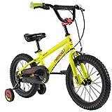 Axdwfd Bici per Bambini Bici for Bambini con Ruota da Allenamento , Bicicletta for Bambini di 3-5 Anni in Lega di Acciaio ad Alto tenore di Carbonio (Color : Yellow, Size : 16in)