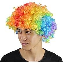 YIAN 10 colores payaso peluca Funny Colorful Halloween para niños niñas disfraz Cosplay(Arco iris)