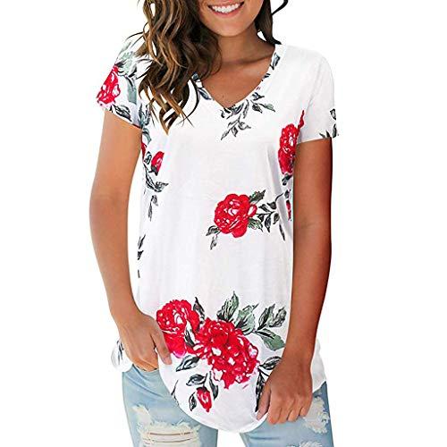 Top Damen Reizvolle Tunika Streifenmuster Kurzarm V Ausschnitt Knopfleiste Plissiert Floral Shirt Bluse T Shirt(Weiß 2,XL)