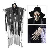 YUNLIGHTS 180cm Halloween Figuren Dekoration Requisite, sprachaktiviertes Skelett/Geist mit glühend Roten Augen und Tollem Soundeffekt, 34,6 Zoll Armbreite