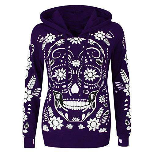 Plus Kostüm Größe Womens Super - POPLY Frauen Sweatshirt Hoodie Schädel Druck mit Kapuze Pullover Tops Plus Größen Langes Hülsen Herbst Oberseiten T-Shirt für Halloween/Daily(Lila,M)