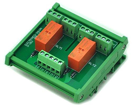 Electronics-Salon Montage sur rail DIN Passif bistable / à verrouillage 2 Module de relais de puissance DPDT 8A, 5V Ver.