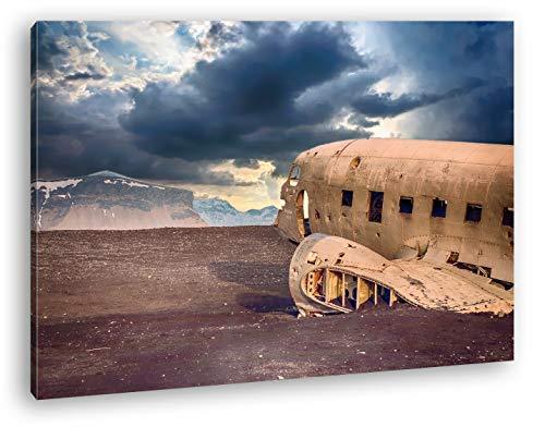 deyoli abgestürztes Flugzeug Format: 100x70 als Leinwandbild, Motiv fertig gerahmt auf Echtholzrahmen, Hochwertiger Digitaldruck mit Rahmen, Kein Poster oder Plakat