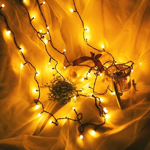 MMLsure 100 LED Plug-in Lichterkette bunt,Schwarze Kunststofflinie Fenster Vorhang Kupfer Lampe Party Decor mit Perlen,Innen und Außen Deko Glühbirne für Hochzeit, Party, Weihnachtsbaum (YE)