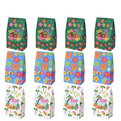 Tinksky Luau Party Supplies Hibiscus Papiertüten Tropical behandeln Geschenk Papiertüte Hawaiian Party Treat Taschen Sommer Party Favor Candy Taschen, Packung mit 12