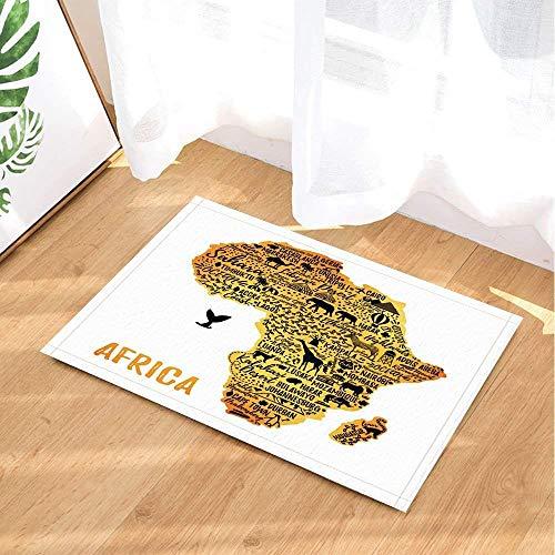 hdrjdrt Weißer Hintergrund Afrika Karte Giraffe Elefant Kamel Zebra Haus Baum Badezimmermatte Weiche absorbierende Rutschfeste verschleißfest (Hintergrund Duschvorhang)