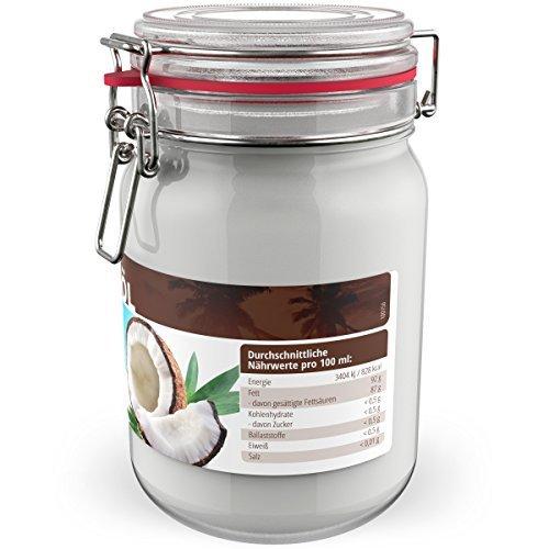 Nutriverde BIO Kokosöl - 1 x 1.000 mL (1L) Neu im Bügelglas - KOCHEN, BRATEN, BACKEN + HAAR- & HAUTPFLEGE bio, nativ, kaltgepresst - 2