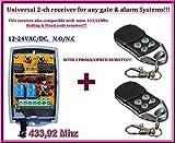 Universal 2-canales Empfänger + 2Fernbedienungen destancia, für jede Automatismus von Garagentor/Alarm-System/Einige Andere Geräte 12–24V DC, 433,92MHz NO/NC