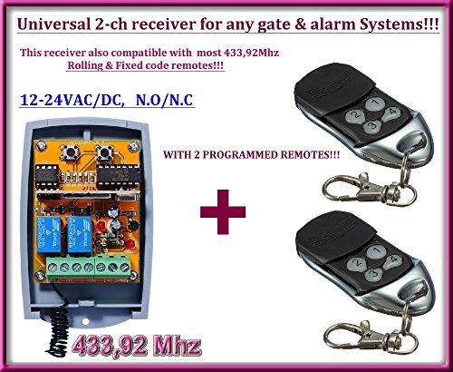Preisvergleich Produktbild Universal Rolling Code Kanal 433, 92 Mhz Empfänger. + 2 bereits programmierte Fernbedienung Fernsteuerung. Rolling / Fixed code 12 – 24 VAC / DC Receiver. N / oder – N / C