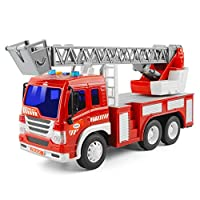 GizmoVine Toys for 2 Years Old Boys, Friction Powered Fire Engine Toy Rescue Truck, Inertial Vehicles Toy Cars for Toddlers & Kids